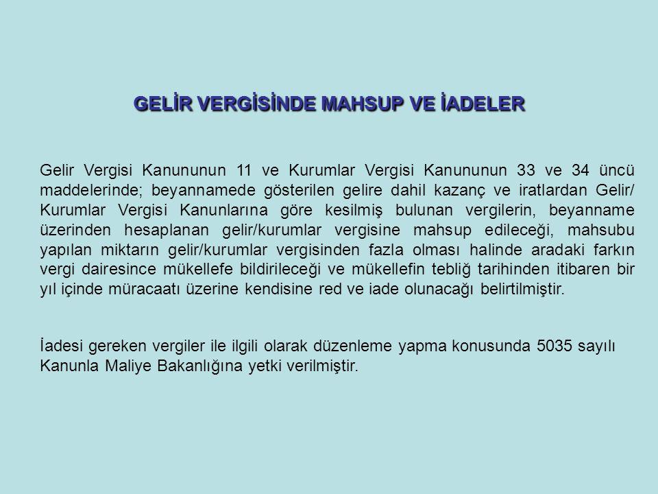 GELİR VERGİSİNDE MAHSUP VE İADELER