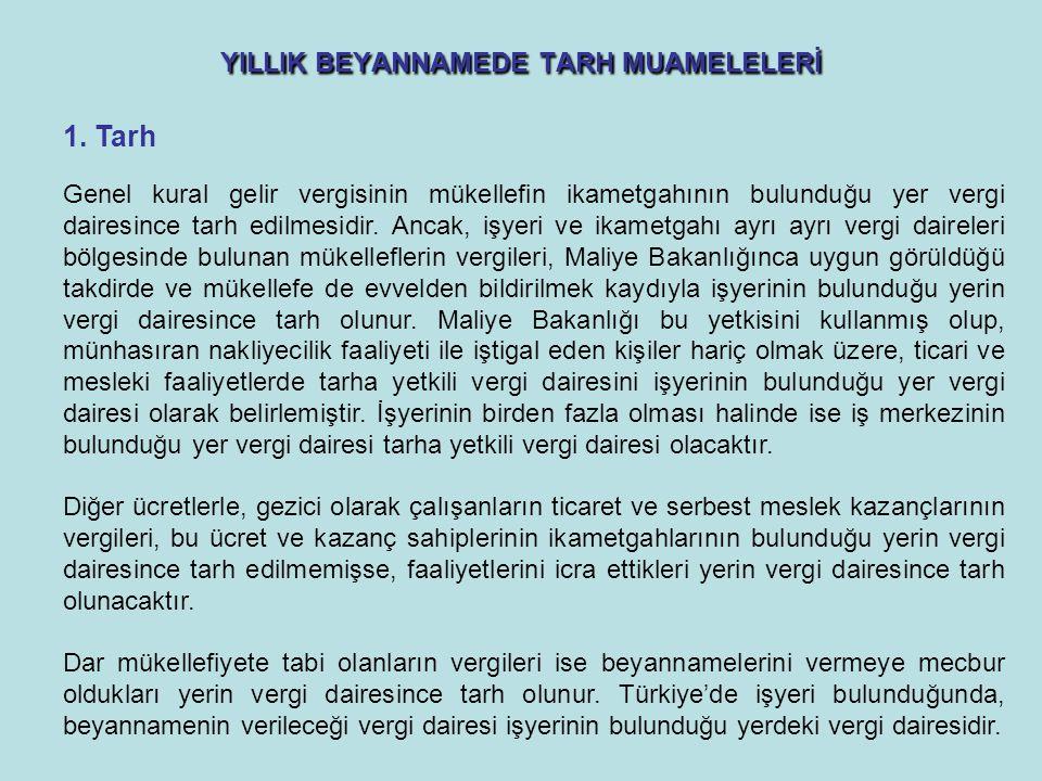 YILLIK BEYANNAMEDE TARH MUAMELELERİ