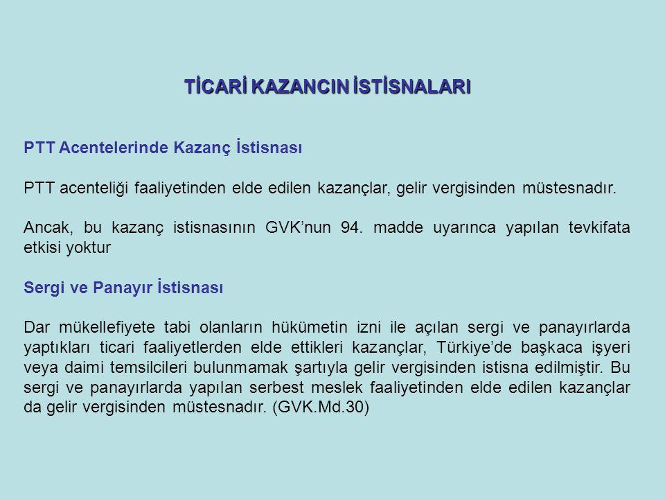 TİCARİ KAZANCIN İSTİSNALARI