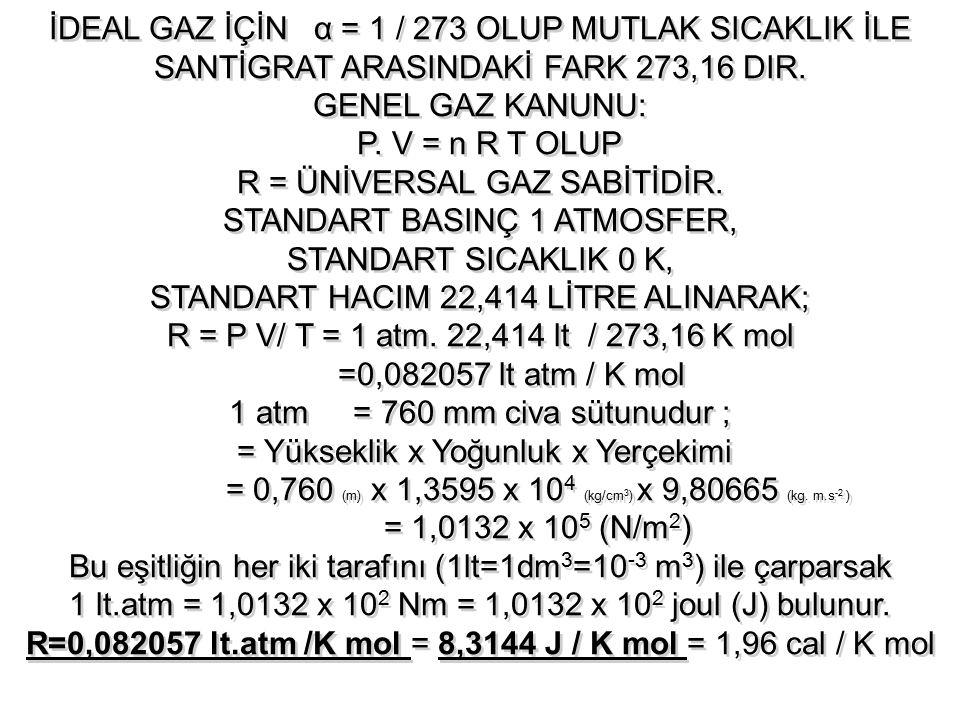 R = ÜNİVERSAL GAZ SABİTİDİR. STANDART BASINÇ 1 ATMOSFER,