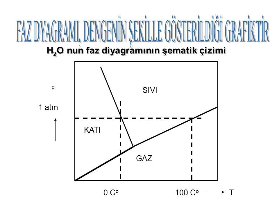 H2O nun faz diyagramının şematik çizimi