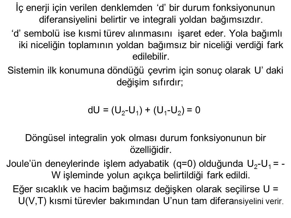 Döngüsel integralin yok olması durum fonksiyonunun bir özelliğidir.