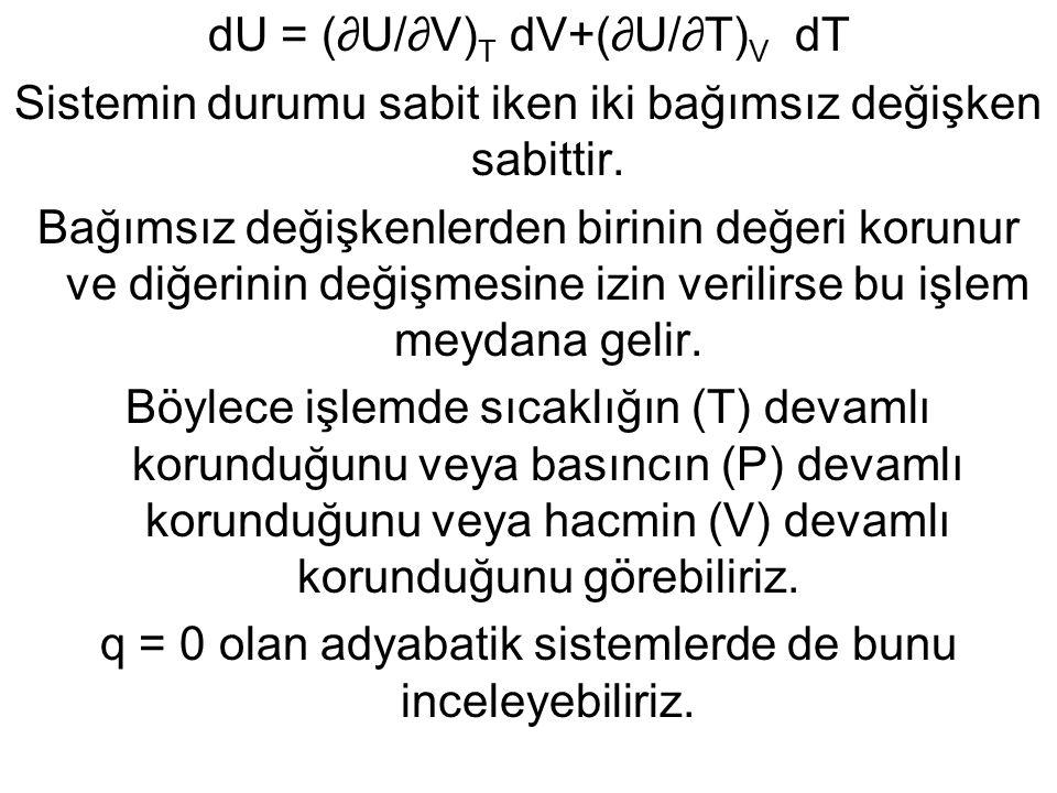 dU = (∂U/∂V)T dV+(∂U/∂T)V dT