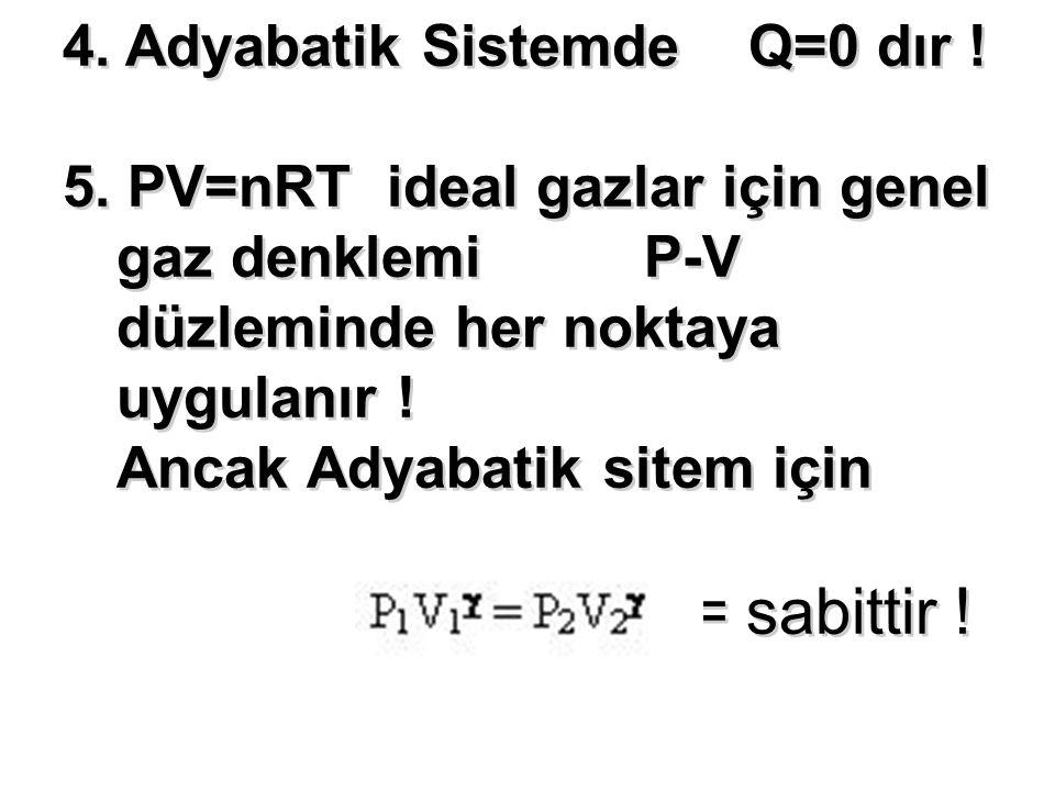 = sabittir ! 4. Adyabatik Sistemde Q=0 dır !