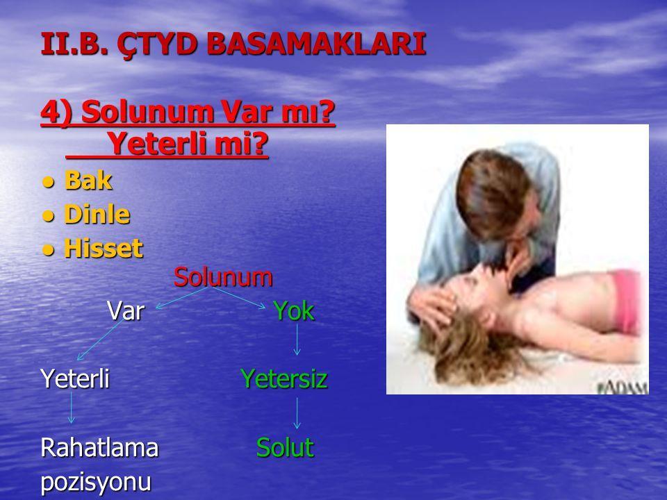 4) Solunum Var mı Yeterli mi II.B. ÇTYD BASAMAKLARI