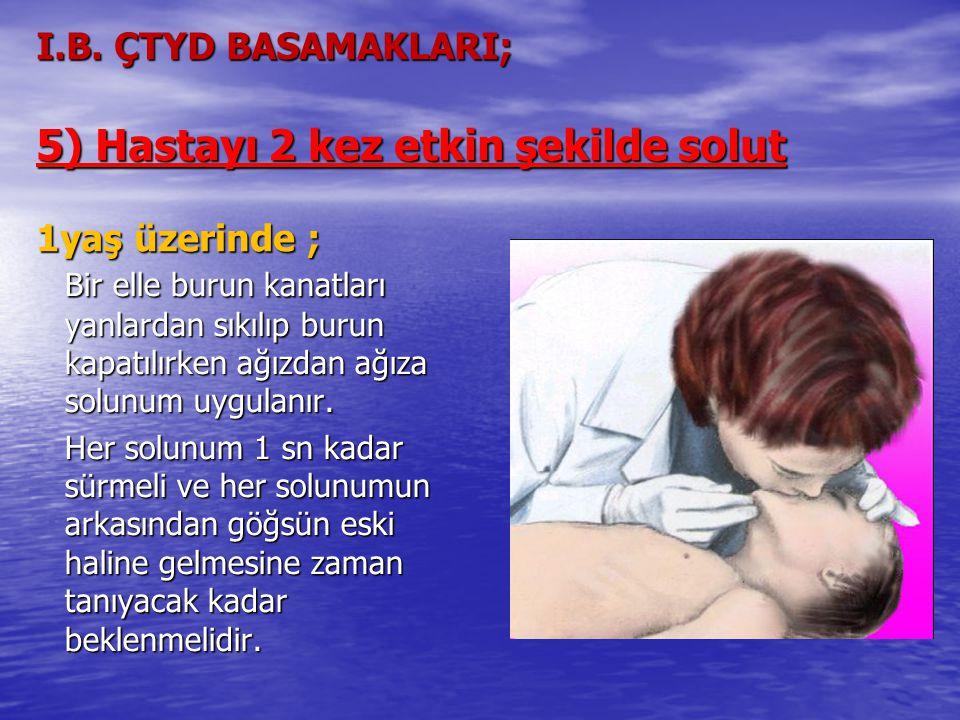 I.B. ÇTYD BASAMAKLARI; 5) Hastayı 2 kez etkin şekilde solut 1yaş üzerinde ;