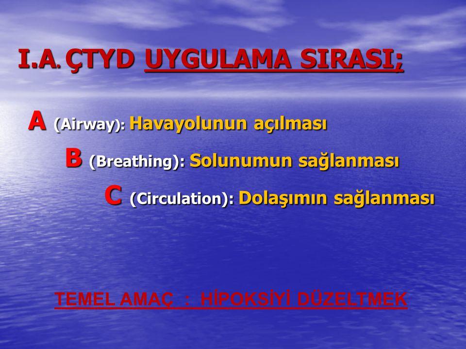 I.A. ÇTYD UYGULAMA SIRASI;