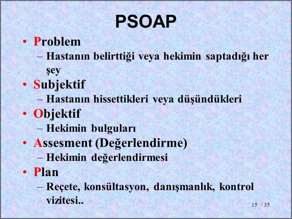 PSOAP Problem Subjektif Objektif Assesment (Değerlendirme) Plan