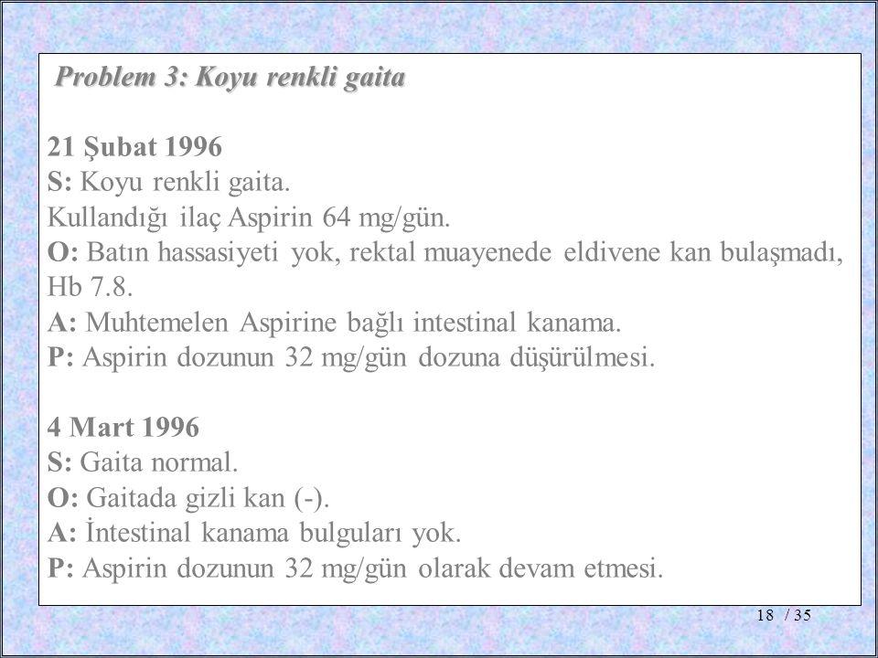 Problem 3: Koyu renkli gaita 21 Şubat 1996 S: Koyu renkli gaita.