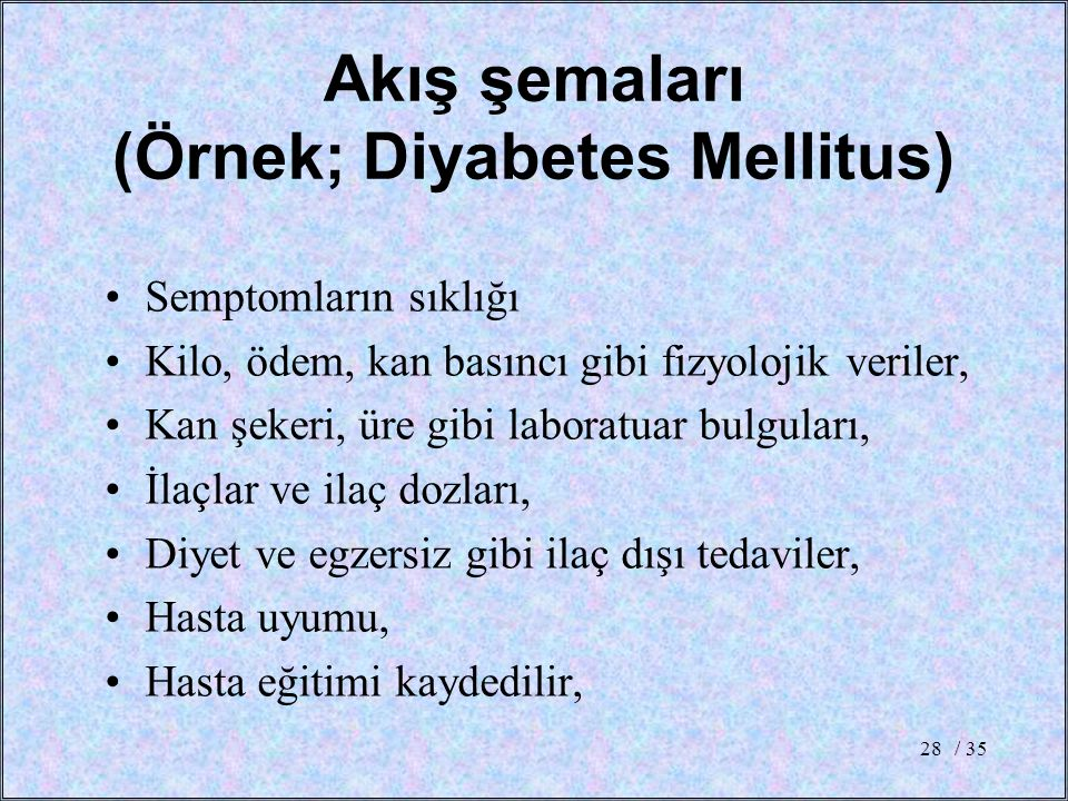 Akış şemaları (Örnek; Diyabetes Mellitus)
