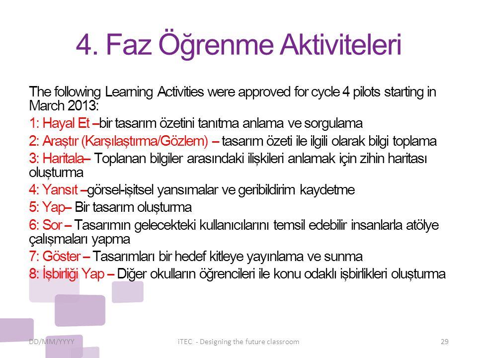 4. Faz Öğrenme Aktiviteleri