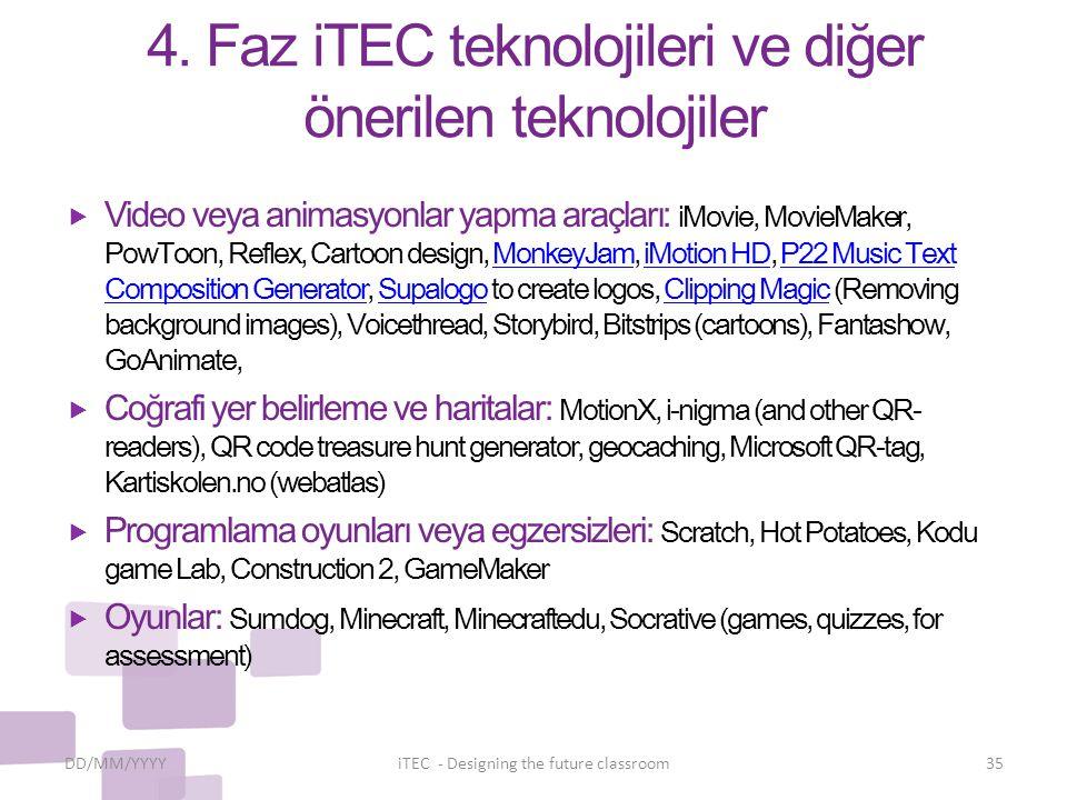 4. Faz iTEC teknolojileri ve diğer önerilen teknolojiler