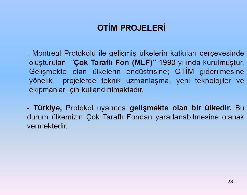- Montreal Protokolü ile gelişmiş ülkelerin katkıları çerçevesinde