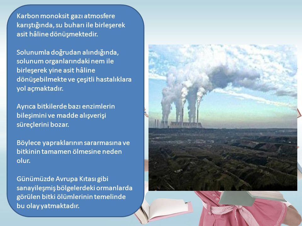 Karbon monoksit gazı atmosfere karıştığında, su buharı ile birleşerek asit hâline dönüşmektedir.