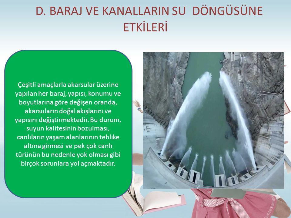 D. BARAJ VE KANALLARIN SU DÖNGÜSÜNE ETKİLERİ