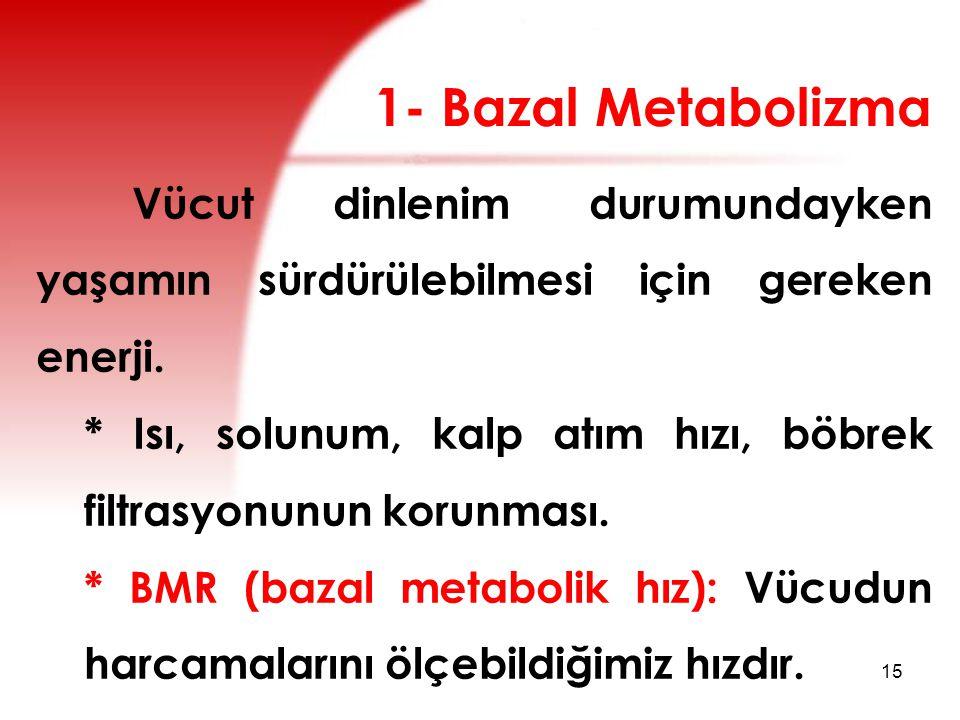 1- Bazal Metabolizma Vücut dinlenim durumundayken yaşamın sürdürülebilmesi için gereken enerji.