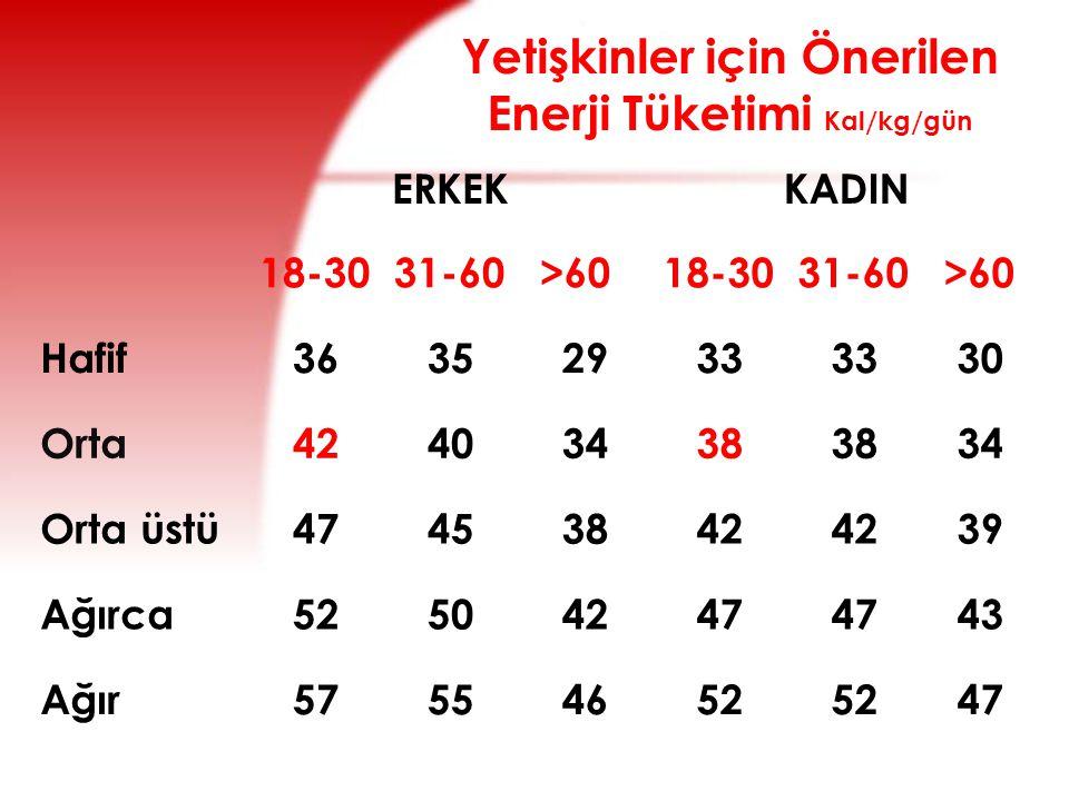 Yetişkinler için Önerilen Enerji Tüketimi Kal/kg/gün