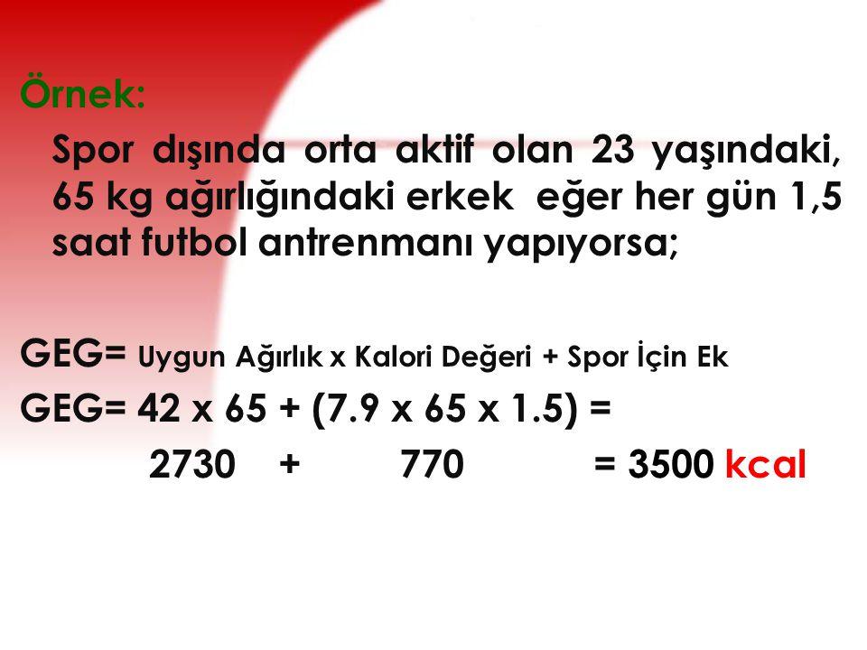 Örnek: Spor dışında orta aktif olan 23 yaşındaki, 65 kg ağırlığındaki erkek eğer her gün 1,5 saat futbol antrenmanı yapıyorsa;
