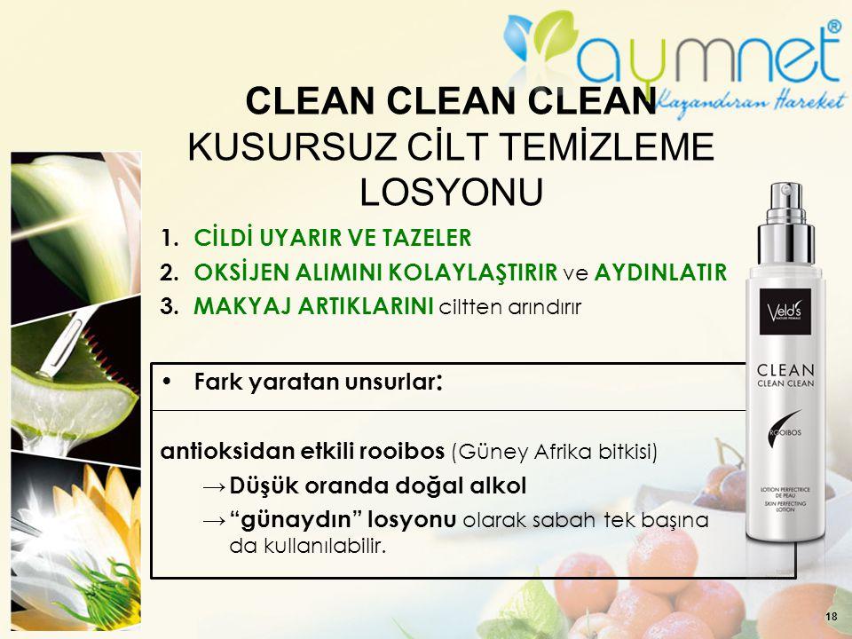 CLEAN CLEAN CLEAN KUSURSUZ CİLT TEMİZLEME LOSYONU