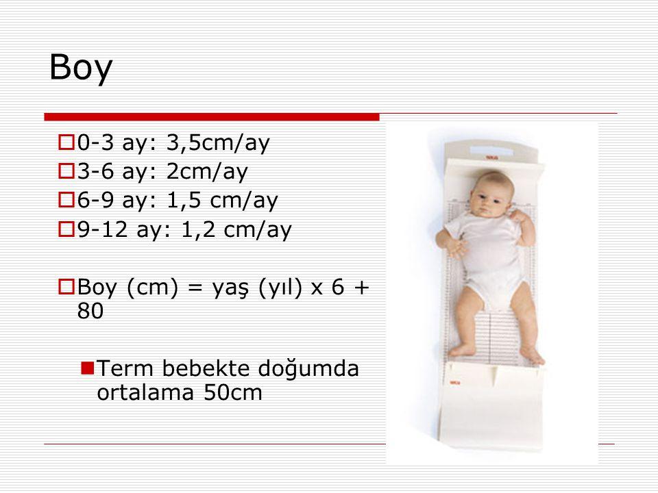 Boy 0-3 ay: 3,5cm/ay 3-6 ay: 2cm/ay 6-9 ay: 1,5 cm/ay