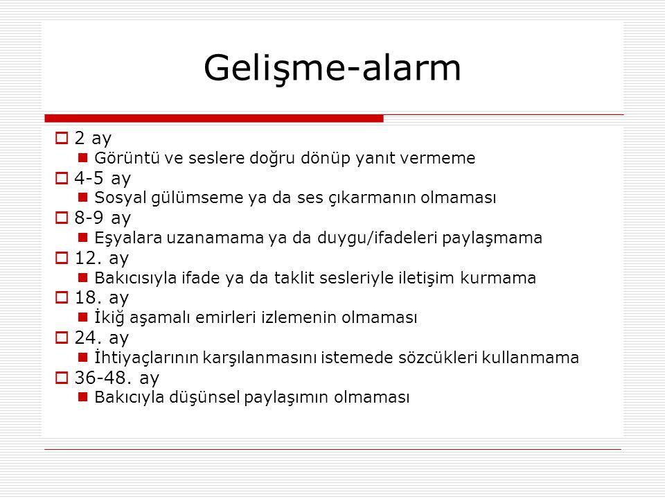 Gelişme-alarm 2 ay 4-5 ay 8-9 ay 12. ay 18. ay 24. ay 36-48. ay