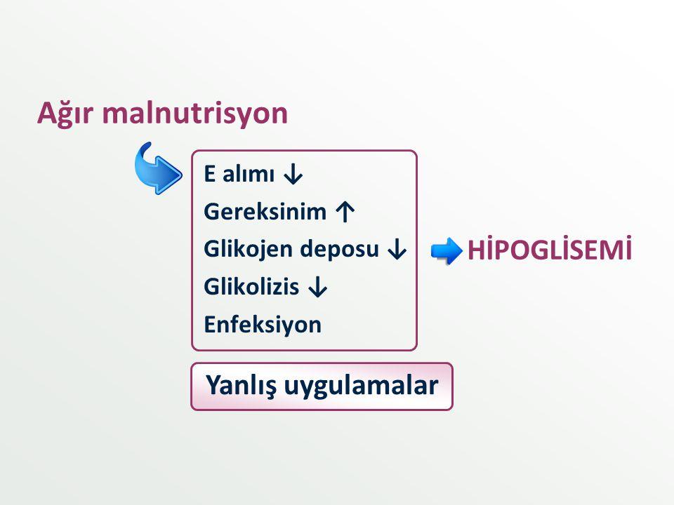 Ağır malnutrisyon HİPOGLİSEMİ Yanlış uygulamalar E alımı ↓