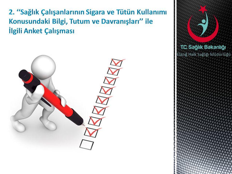 2. ''Sağlık Çalışanlarının Sigara ve Tütün Kullanımı Konusundaki Bilgi, Tutum ve Davranışları'' ile İlgili Anket Çalışması