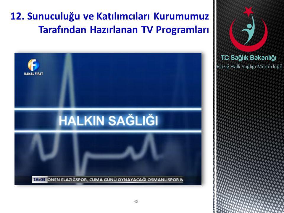 12. Sunuculuğu ve Katılımcıları Kurumumuz Tarafından Hazırlanan TV Programları
