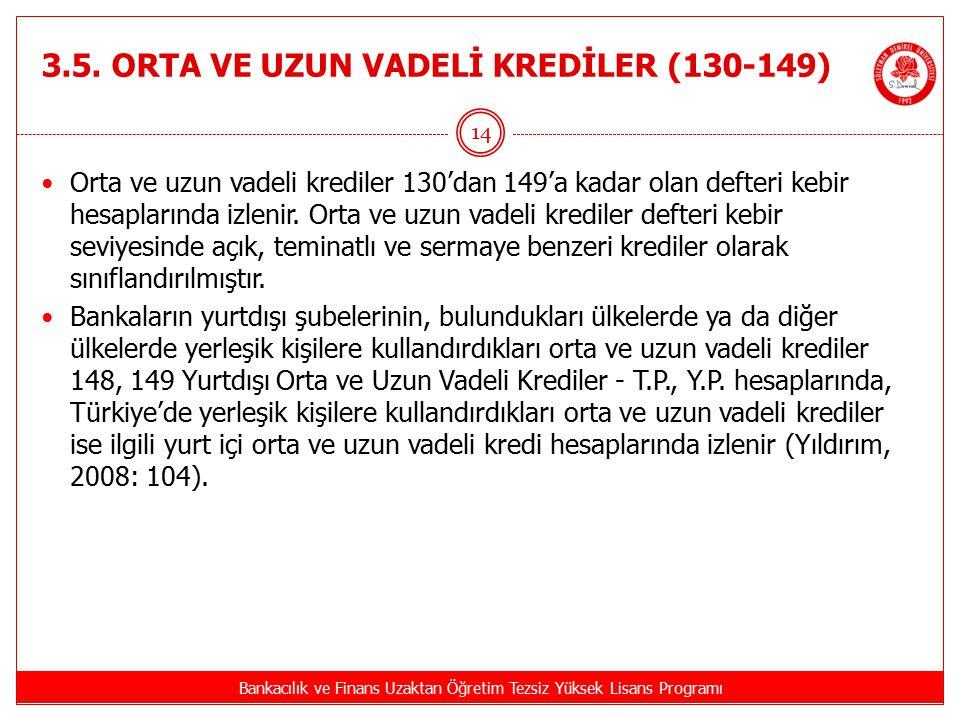 3.5. ORTA VE UZUN VADELİ KREDİLER (130-149)