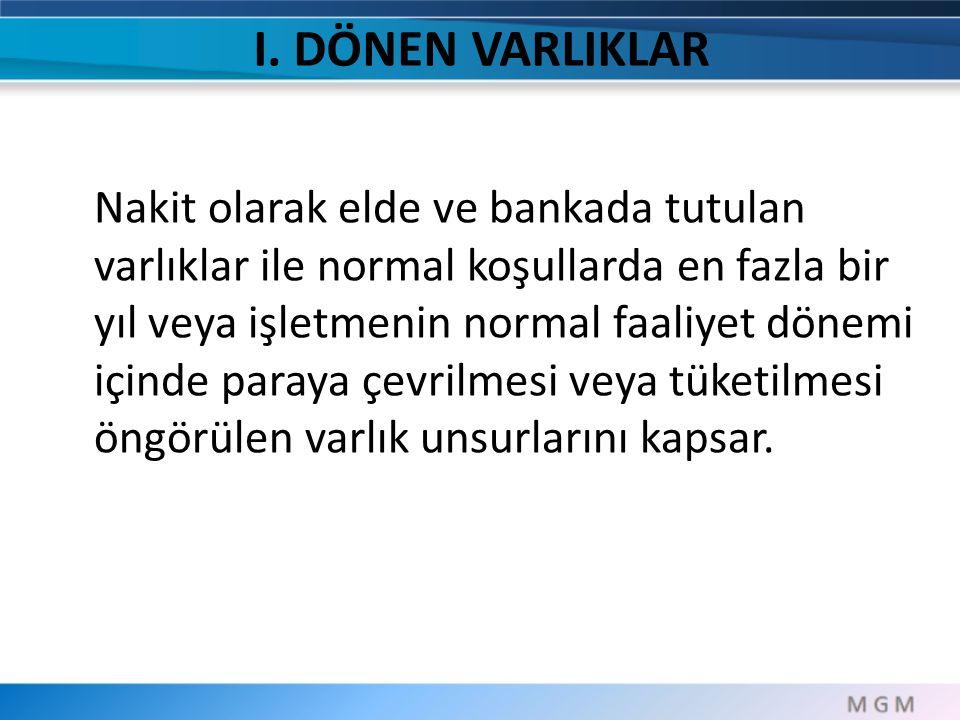 I. DÖNEN VARLIKLAR