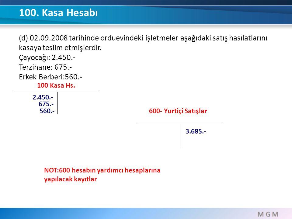 100. Kasa Hesabı (d) 02.09.2008 tarihinde orduevindeki işletmeler aşağıdaki satış hasılatlarını kasaya teslim etmişlerdir.
