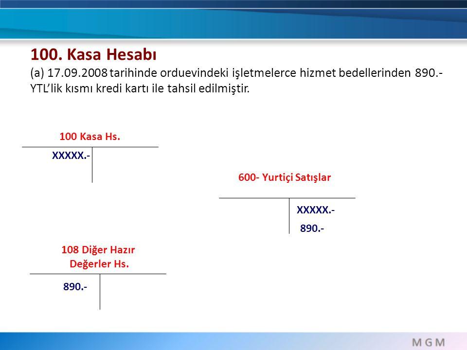100. Kasa Hesabı (a) 17.09.2008 tarihinde orduevindeki işletmelerce hizmet bedellerinden 890.-YTL'lik kısmı kredi kartı ile tahsil edilmiştir.