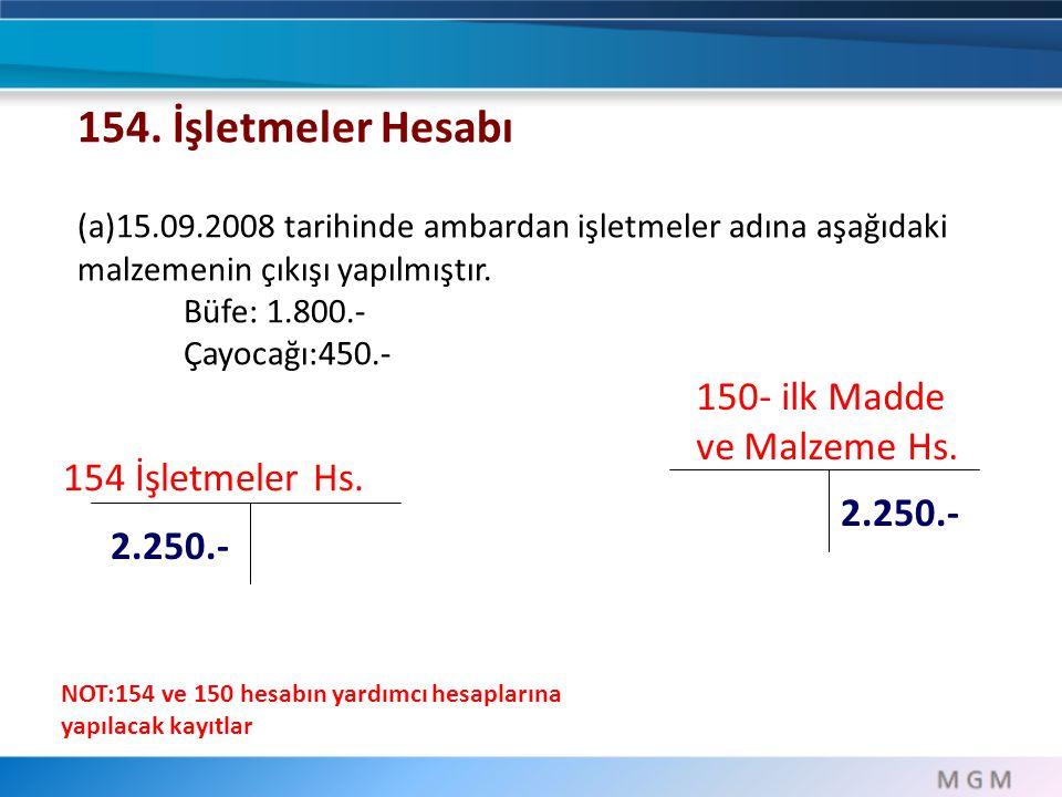 154. İşletmeler Hesabı 150- ilk Madde ve Malzeme Hs.