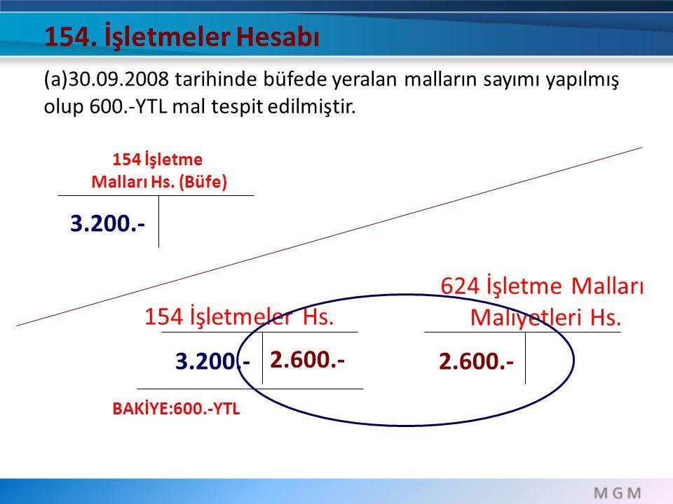 154. İşletmeler Hesabı 3.200.- 624 İşletme Malları Maliyetleri Hs.