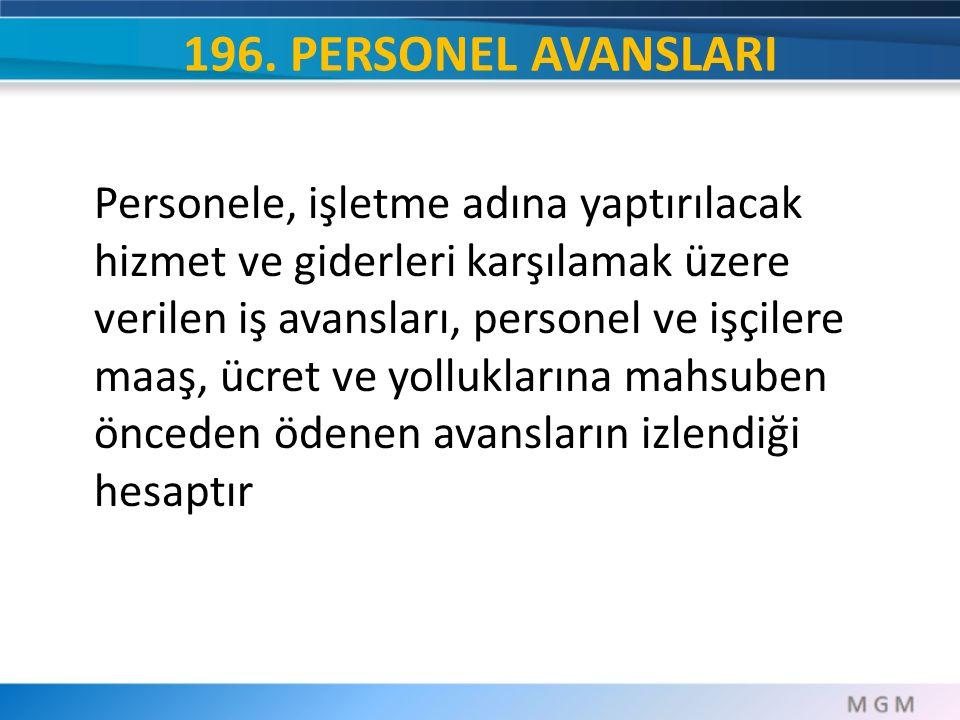 196. PERSONEL AVANSLARI