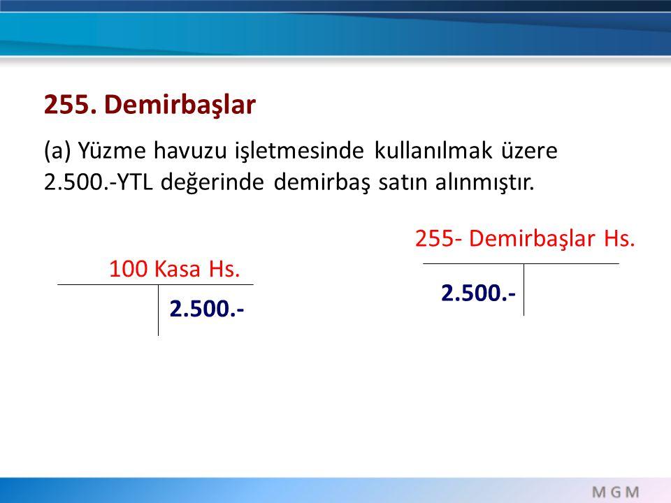 255. Demirbaşlar (a) Yüzme havuzu işletmesinde kullanılmak üzere 2.500.-YTL değerinde demirbaş satın alınmıştır.