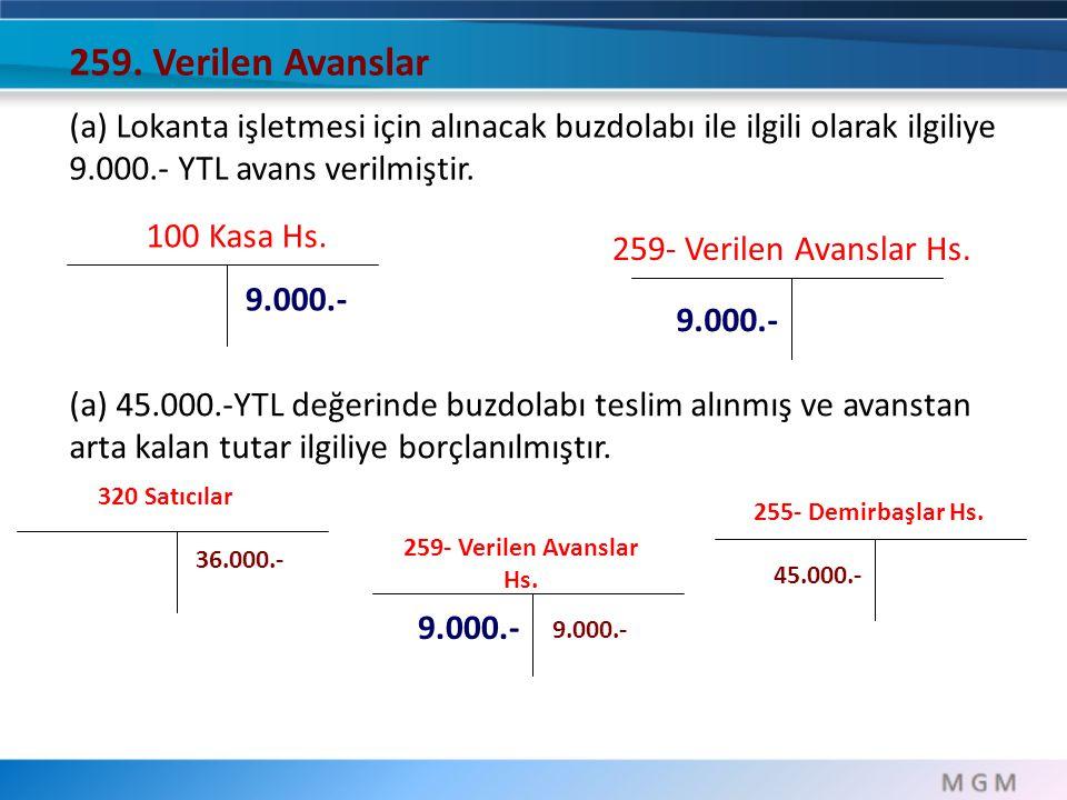 259. Verilen Avanslar (a) Lokanta işletmesi için alınacak buzdolabı ile ilgili olarak ilgiliye 9.000.- YTL avans verilmiştir.