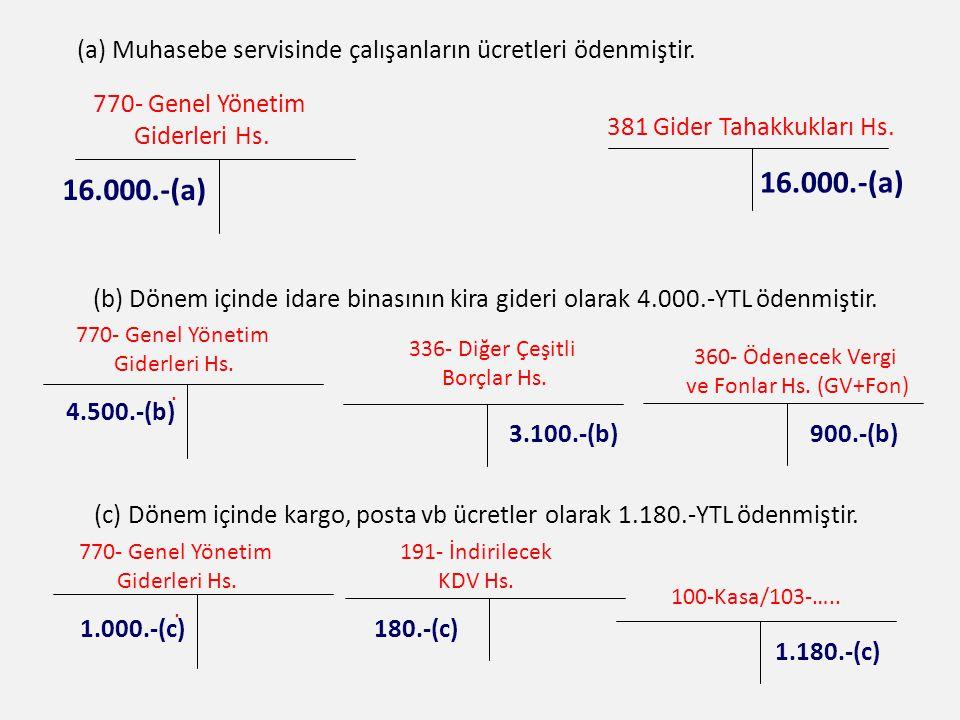 (a) Muhasebe servisinde çalışanların ücretleri ödenmiştir.