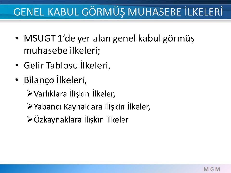 GENEL KABUL GÖRMÜŞ MUHASEBE İLKELERİ