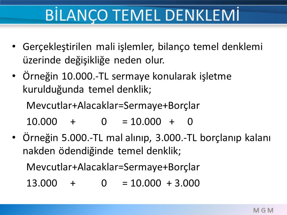 BİLANÇO TEMEL DENKLEMİ