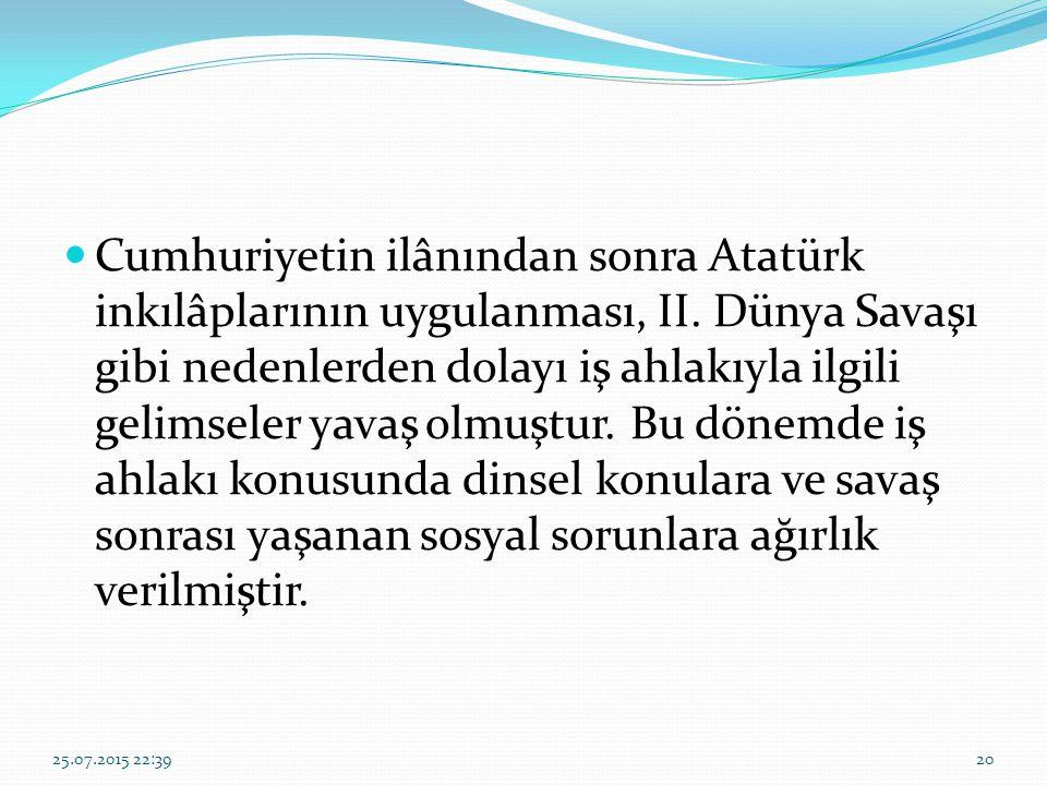 Cumhuriyetin ilânından sonra Atatürk inkılâplarının uygulanması, II