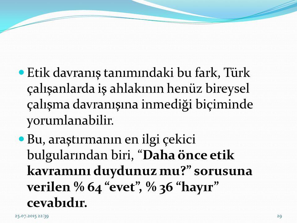 Etik davranış tanımındaki bu fark, Türk çalışanlarda iş ahlakının henüz bireysel çalışma davranışına inmediği biçiminde yorumlanabilir.