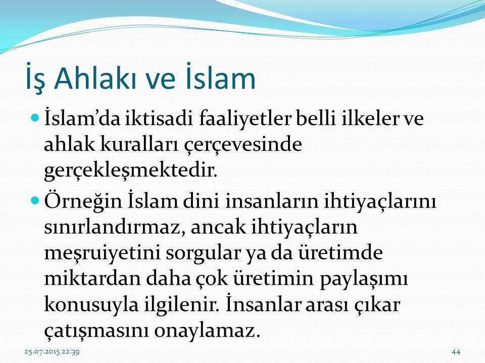 İş Ahlakı ve İslam İslam'da iktisadi faaliyetler belli ilkeler ve ahlak kuralları çerçevesinde gerçekleşmektedir.