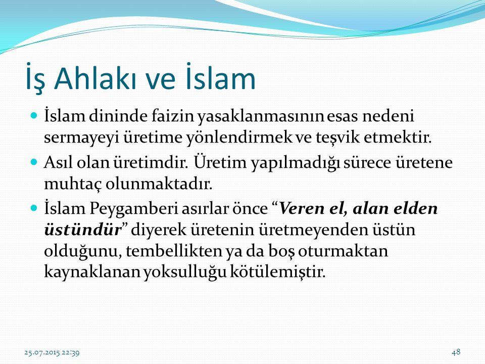 İş Ahlakı ve İslam İslam dininde faizin yasaklanmasının esas nedeni sermayeyi üretime yönlendirmek ve teşvik etmektir.