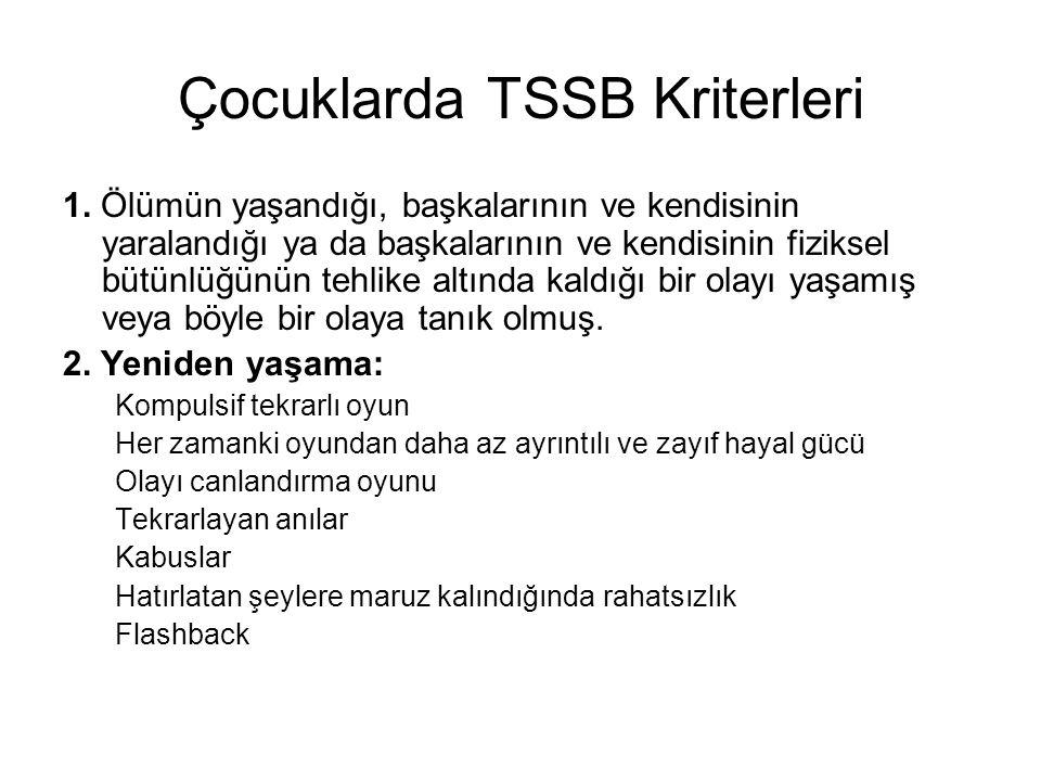 Çocuklarda TSSB Kriterleri