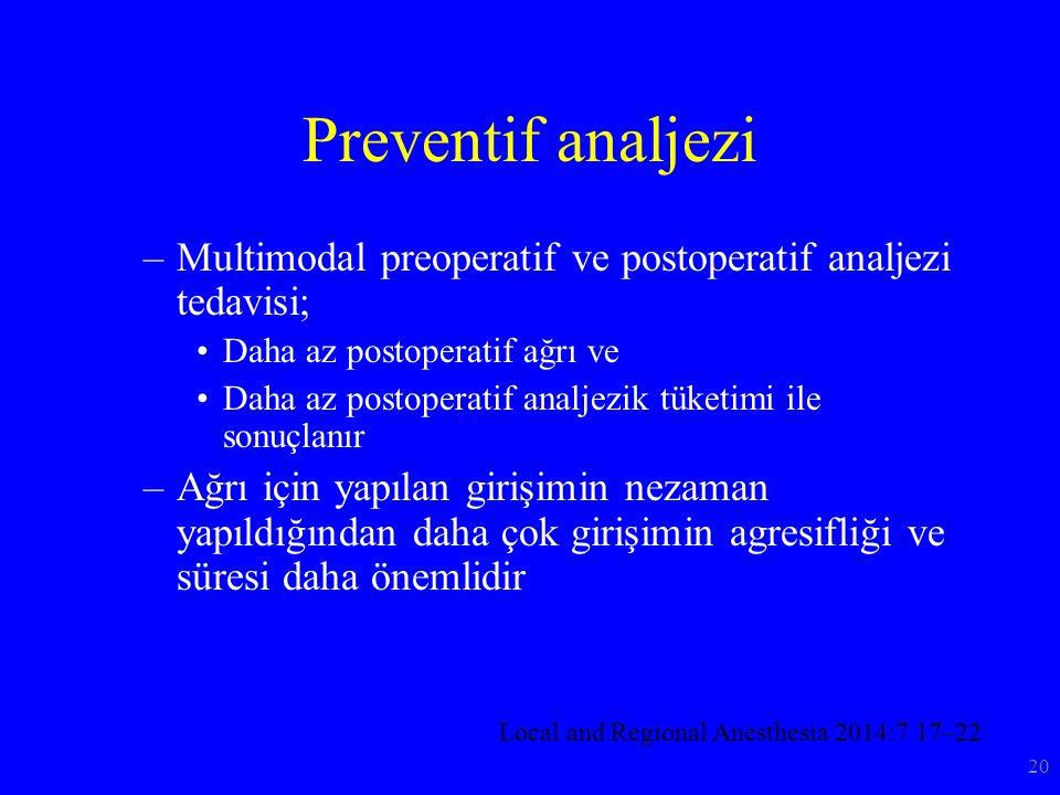 Preventif analjezi Multimodal preoperatif ve postoperatif analjezi tedavisi; Daha az postoperatif ağrı ve.