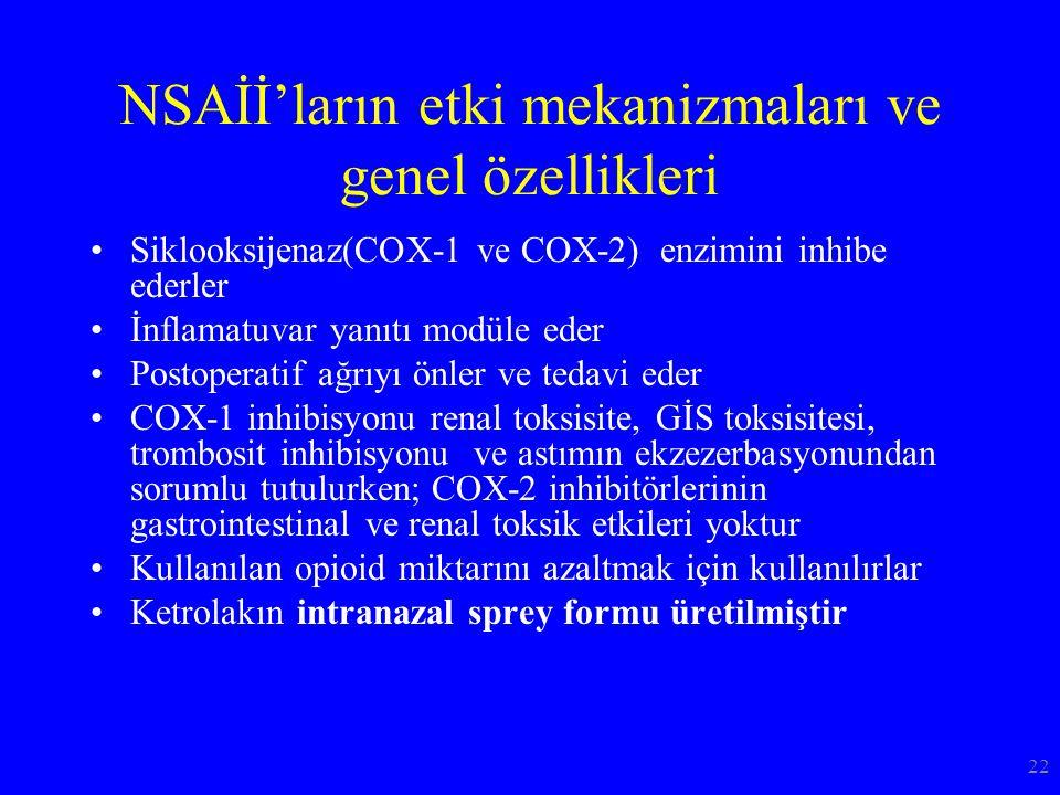 NSAİİ'ların etki mekanizmaları ve genel özellikleri