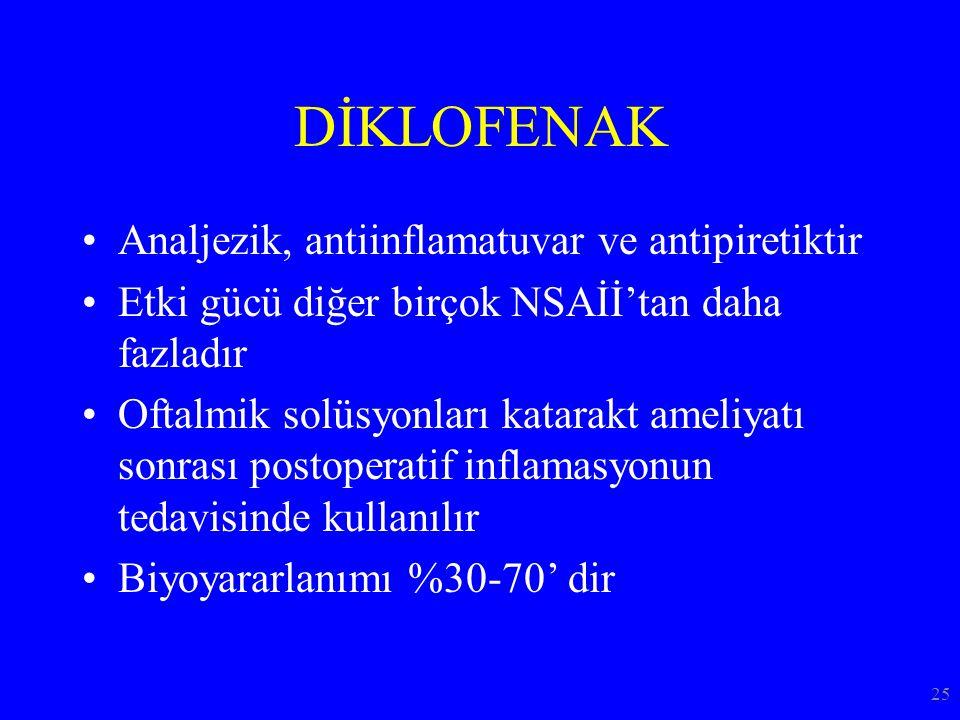 DİKLOFENAK Analjezik, antiinflamatuvar ve antipiretiktir