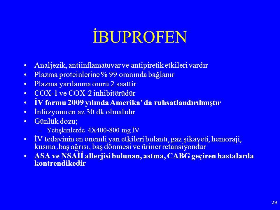 İBUPROFEN Analjezik, antiinflamatuvar ve antipiretik etkileri vardır
