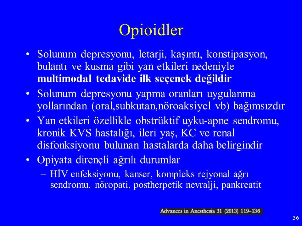 Opioidler Solunum depresyonu, letarji, kaşıntı, konstipasyon, bulantı ve kusma gibi yan etkileri nedeniyle multimodal tedavide ilk seçenek değildir.